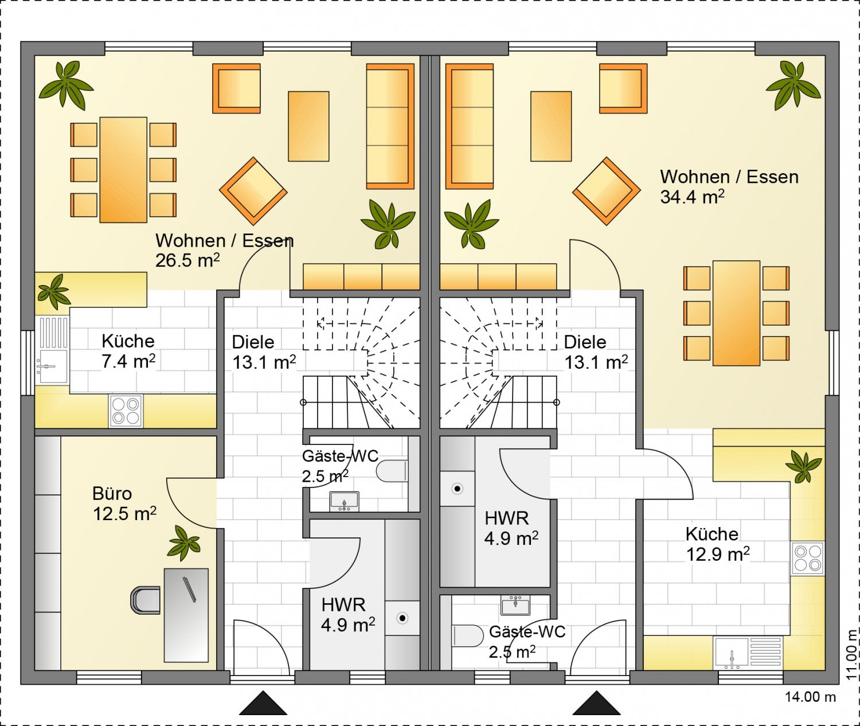 Hausdetails family doppelhaus 2 for Doppelhaus grundriss modern